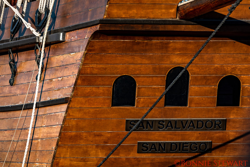 Close-up of the name plate on the San Salvador