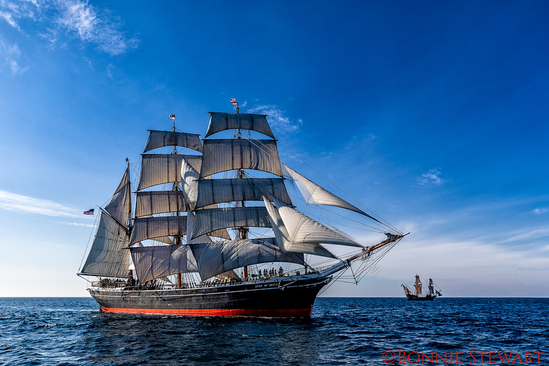 The Star of India in full sails with the San Salvador ship in the distance with full sails