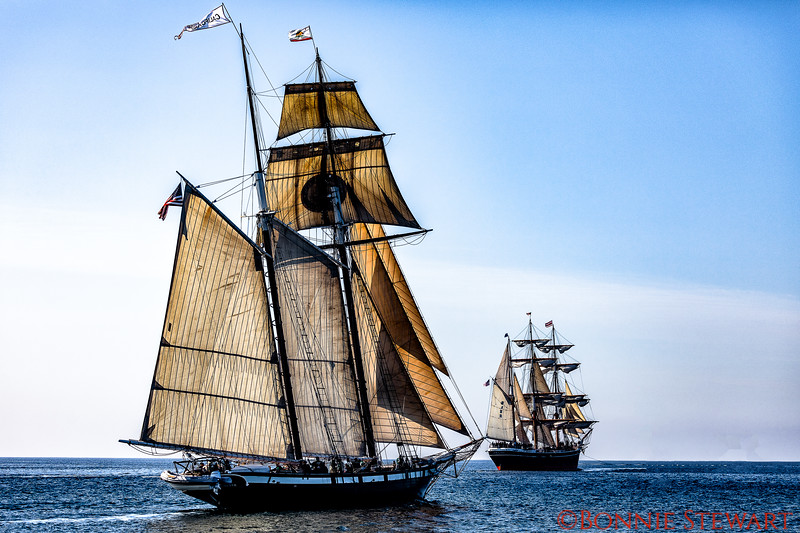 The California ship with full sails and the Star of India in the background