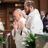 John Martin and Stephen Hauck during the Liturgy of Diaconal Ordination. (Photo by Juan Guajardo / North Texas Catholic)