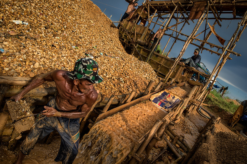 Miner working in the diamond fields.