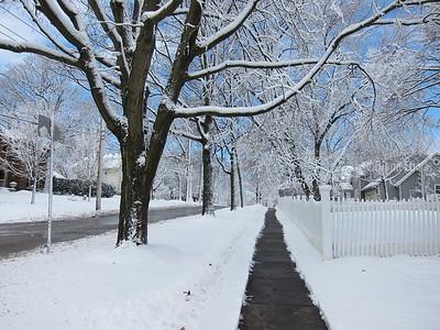Snow-blown walkway.