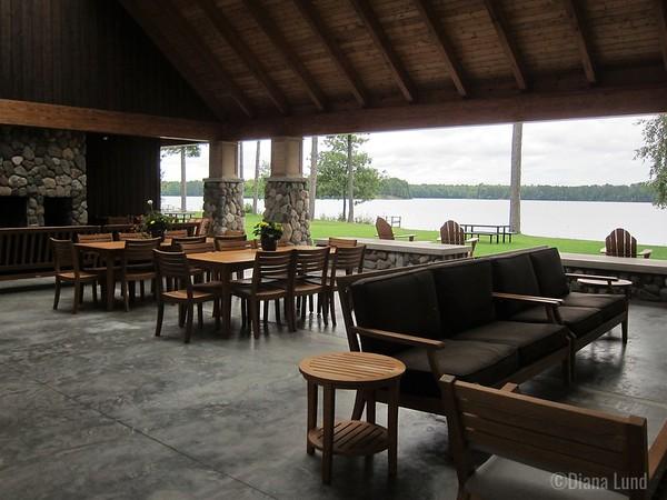 stylish park shelter on rest lake