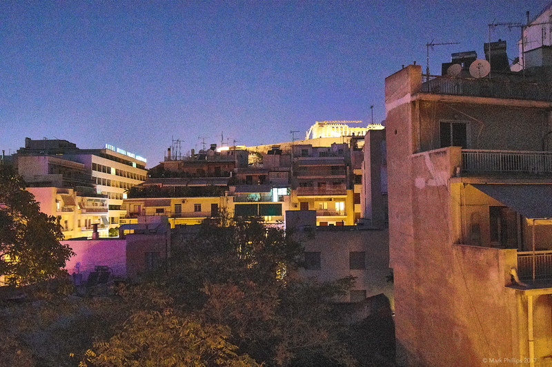 Night view of Acropolis from apartment balcony, Athens, Greece, 2017.10.09