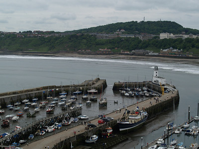 12th July 2010 - Scarborough.  Looking down on the harbour from the walk up to the castle walls