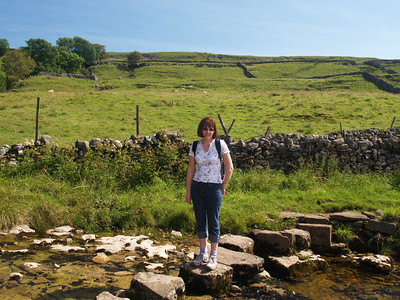 Pauline tackling the scary stepping stones..ok so they're not scary!