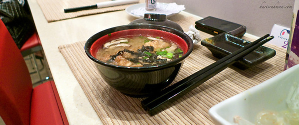 Expresssushi, Great Eastern Mall 2  Anita had miso with fish head. And it was gorgeous. I had a soba.