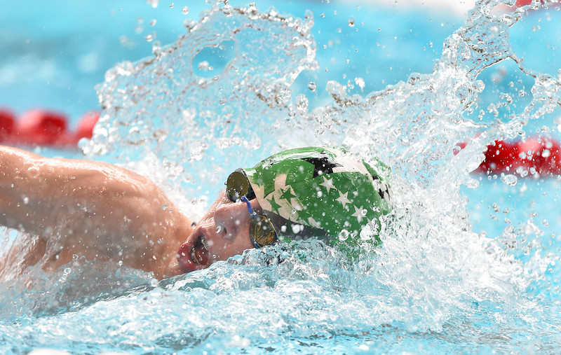 """Longmont's Octavio Queral  swims in the 200 yard freestyle relay during the 2016 Dick Rush Coaches Invitational Swim Meet at the Veterans Memorial Aquatic Center in Thornton on Saturday.<br /> More photos:  <a href=""""http://www.BoCoPreps.com"""">http://www.BoCoPreps.com</a><br /> David R. Jennings/Staff Photographer<br /> March 12, 2016"""