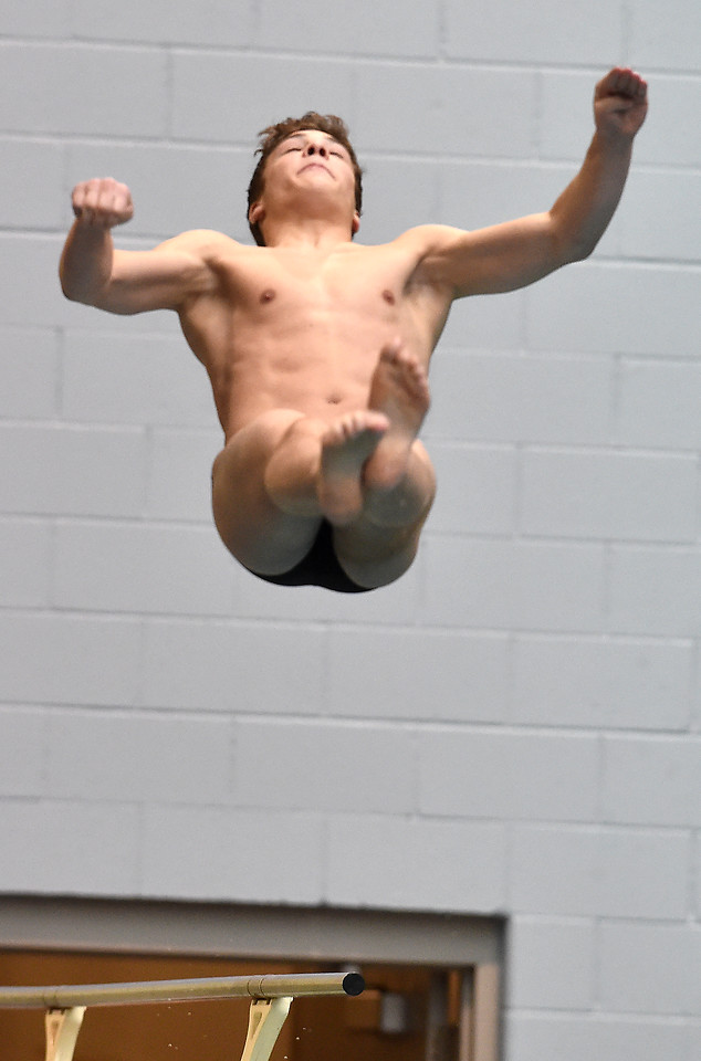 "Fairview's Duncan Lester makes a dive during the 2016 Dick Rush Coaches Invitational Swim Meet at the Veterans Memorial Aquatic Center in Thornton on Saturday.<br /> More photos:  <a href=""http://www.BoCoPreps.com"">http://www.BoCoPreps.com</a><br /> David R. Jennings/Staff Photographer<br /> March 12, 2016"