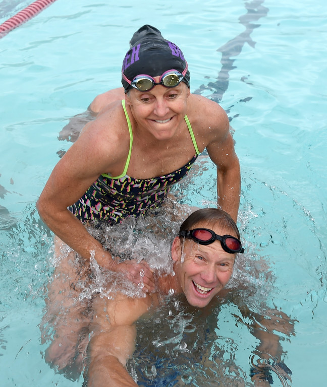 . Lynn O\'Donnell has some fun with Dick Sumerfield in the pool.  Dick Sumerfield works out at  RallySport Health & Fitness in Boulder, training for the next Ironman. Dick Sumerfield was hospitalized for three days and almost died from dehydration after competing in last year\'s Ironman Boulder.  Cliff Grassmick  Staff Photographer May 19, 2017