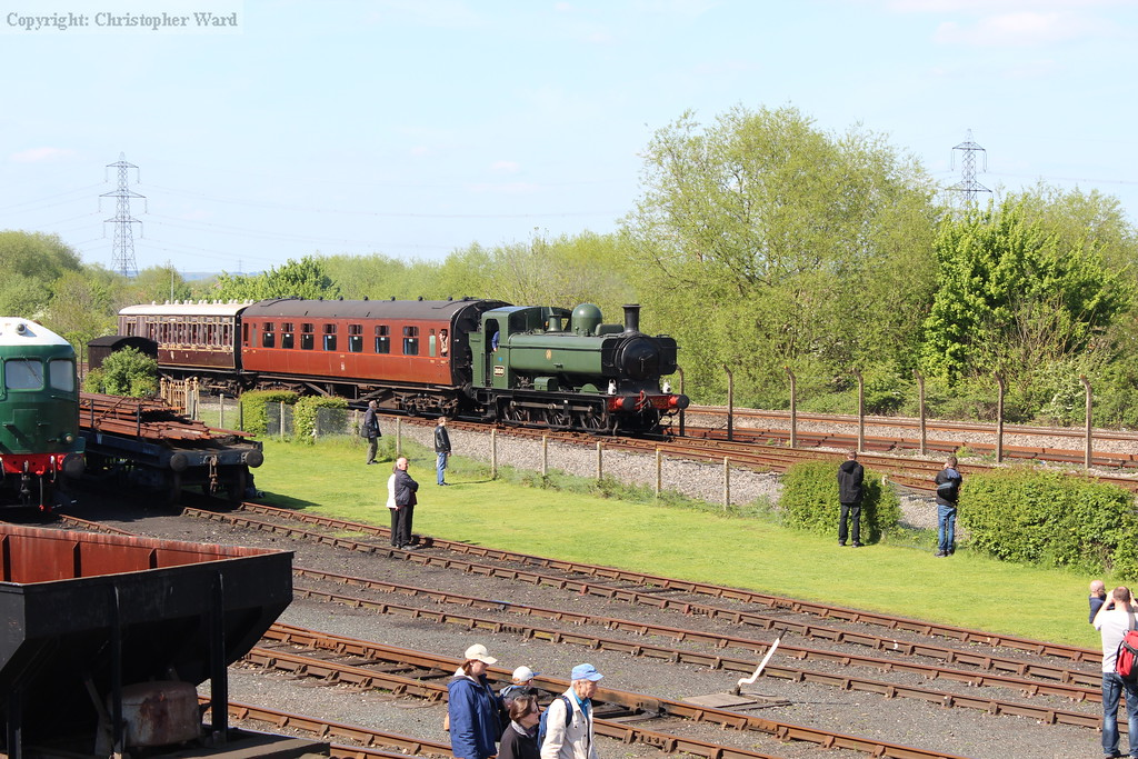 The Pannier returns with another train on the main demonstration line