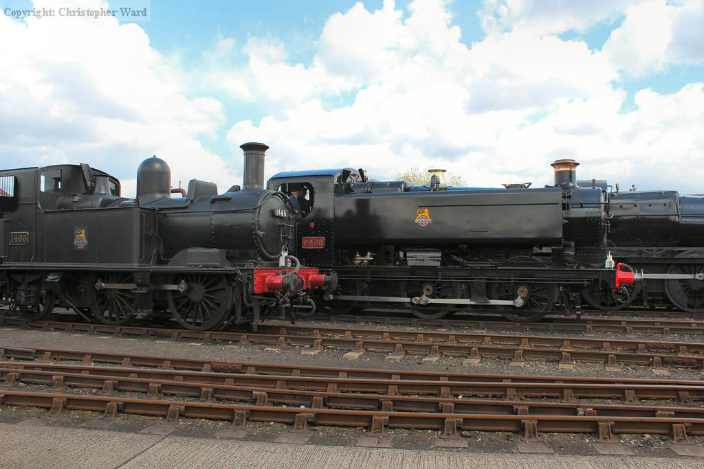BR black tank engines in the yard