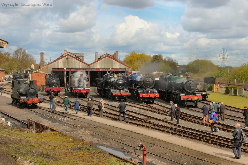 The line up of 1338, 1466, 4144, 5322, 6023 and 6998 outside the shed