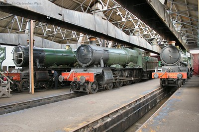 The mid-range GWR line-up of (L-R) Hall, Manor and Castle in the shed