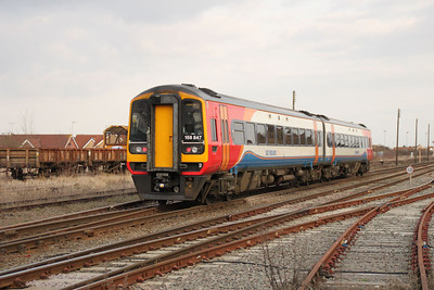 158847 Departs March on a Stanstead service 10/03/12