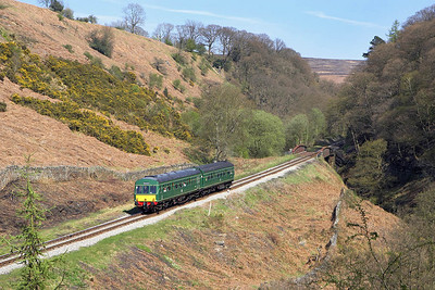 101680 rolls down the bank at Thomason Foss whilst forming the 1445 Goathland-Grosmont on 05/05/2006.