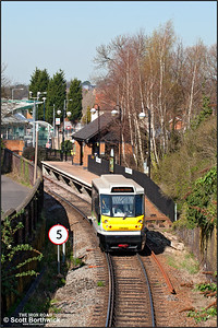 139002 departs from Stourbridge Town forming 2P92 1324 Stourbridge Town-Stourbridge Junction on 27/03/2012.
