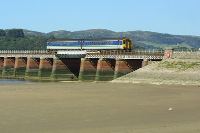 156425 is pictured crossing Kent Viaduct, Arnside on 08/09/2004 whilst working 2C42 1020 Millom-Lancaster.