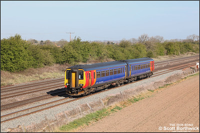 156498 passes Cossington whilst forming 2L54 0653 Sleaford-Leicester on 22/04/2021.