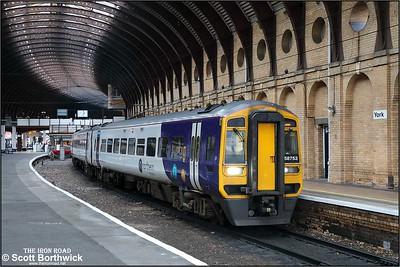 158753 awaits departure time at York with 2C33 1111 York-Leeds via Harrogate on 05/12/2019.