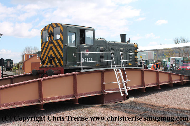 Class 03 Diesel shunter number D2133 at Minehead being turned.<br /> 27th April 2013