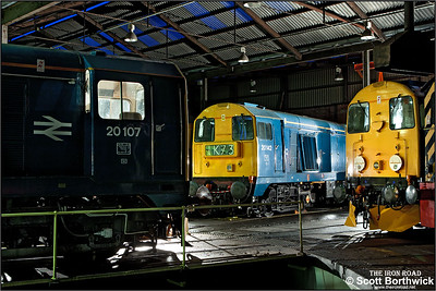 20142, 20107 & 20096 stand inside the roundhouse at Barrow Hill TMD on 05/02/2011.