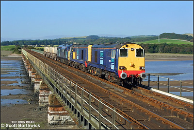 20308+20314+37611 have three nuclear flasks in tow as they cross Eskmeals Viaduct with 6K73 1535 Sellafield-Crewe on 09/09/2004.