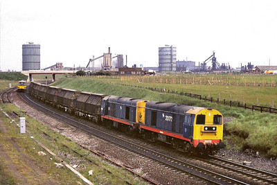 20172+20028 pass Southbank, Middlesbrough in charge of 6P67 Boulby Potash Mine-Middlesbrough Goods on 01/06/1988.