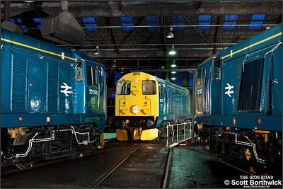 20107 is turned on the turntable as 20096 & 20142 undergo maintenance inside the roundhouse at Barrow Hill TMD on 05/02/2011.