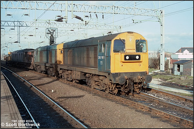 20161+20136 have just run round their short PW tran which had arrived from the Leicester direction. They would draw the train forward before reversing back into the sdgs adjacent to platform 5. Mid January 1984.