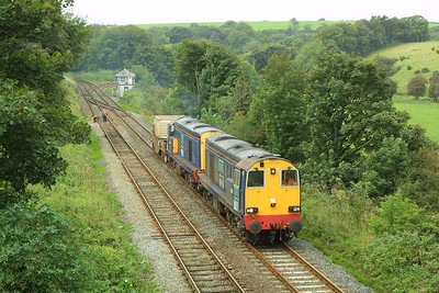 20312+20316 accelerate away from Dalton Junction on 11/09/2004 with 6K73 0920 SO Sellafield-Crewe.