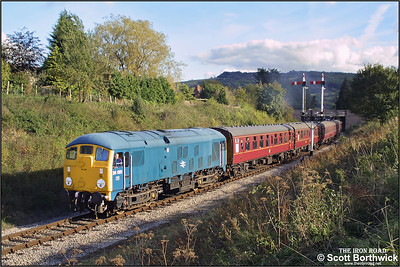 In glorious late afternoon autumnal sunshine, 24081 makes a spirited departure from Winchcombe with the 1445 Toddington-Gotherington service during the Gloucestershire & Warwickshire Railways Autumn Diesel Gala on 19/10/2002.