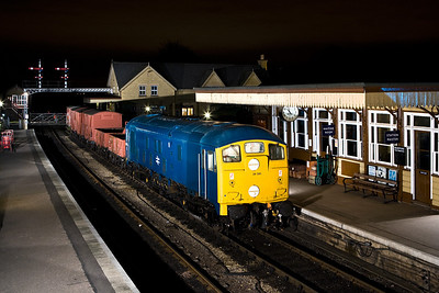 24081 stands at Wansford with a short mixed freight on 23/02/2008.