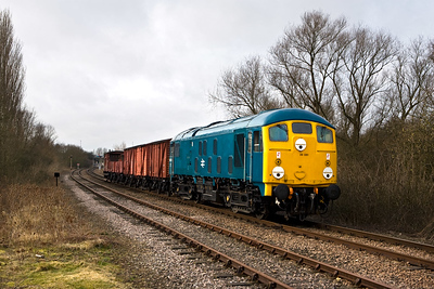 24081 passes Longueville Jnct with a short mixed freight on 23/02/2008.