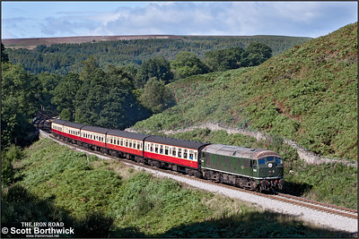 D5061 climbs the bank at Thomason Foss whilst working 1T11 1130 Grosmont-Pickering on 14/09/2012. The train was the 1100 Whitby-Pickering starting at Grosmont as a result of a gas leak at Ruswarp closing the Esk Valley line.