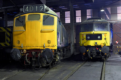 25067, 47769 rest inside the roundhouse at Barrow Hill TMD on 12/02/2206.