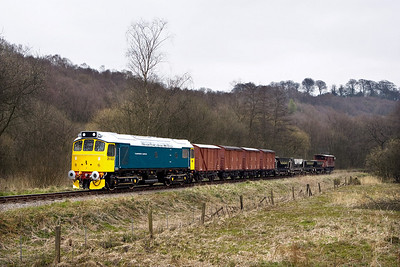 25322 'Tamworth Castle' passes Banktop with a mixed freight on 19/04/2008.