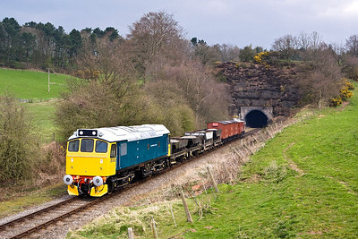 25322 'Tamworth Castle' exits Cheddleton tunnel with a mixed freight on 19/04/2008.