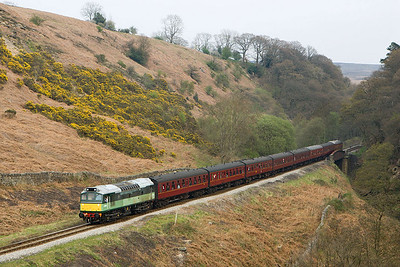 D7628 (25278) runs downhill at Thomason Foss on 21/04/2007 whilst in charge of 2G22 1435 Pickering-Grosmont.