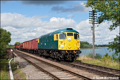 26007 comes off Swithland Viaduct with a mixed freight on 07/09/2010.