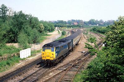 31460 passes Whitacre Junction on 14/05/1988 with the last loco hauled 0928 Cambridge-Birmingham New Street, Sprinterisation followed.