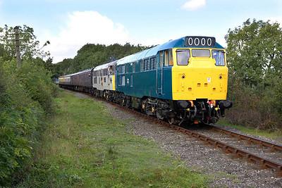 31101+31130 work the 1300 Shackerstone-Shenton service near Carlton on 29/09/2005.