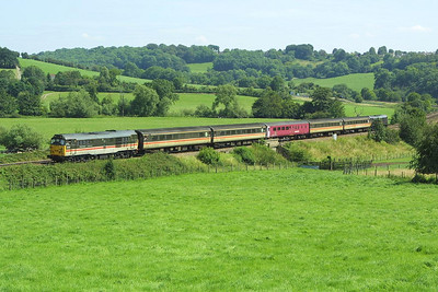 31454 leads 31128 at Freshford on 31/07/2004 whilst working 2V79 1156 SO Weymouth-Bristol Temple Meads.