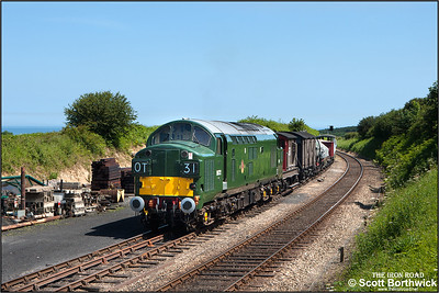 D6732 (37032) is pictured in the headshunt at Weybourne after arriving wiith a mixed freight from Sheringham on 12/06/2014.