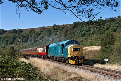 37275 crests the 1 in 97 gradient through Northdale whilst working 2G02 1000 Pickering-Grosmont on 15/09/2012.