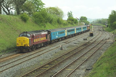 37408 brings up the rear of 1E23 1333 Carlisle-Leeds at Settle Junction on 10/05/2004. The train was headed by 37405.
