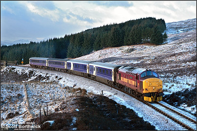 37406 begins the climb to Corrour shortly after crossing Rannoch Viaduct with 1Y11 0450 Edinburgh Waverley-Fort William on 04/03/2005.