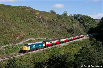 37264 rolls down the bank at Thomason Foss whilst working 2G08 1300 Pickering-Grosmont on 14/09/2012.