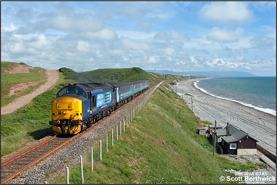 37425 'Sir Robert McAlpine/Concrete Bob' powers 2C41 1437 Barrow in Furness-Carlisle approaching Nethertown on 24/06/2016.