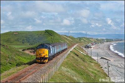 37425 'Sir Robert McAlpine/Concrete Bob' powers 2C41 1437 Barrow in Furness-Carlisle between Braystones and Nethertown on 24/06/2016.